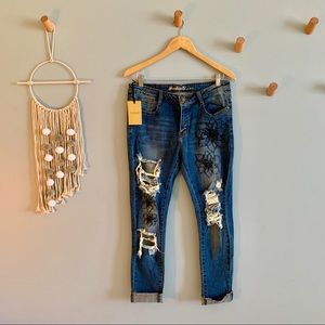 Machine denim jeans